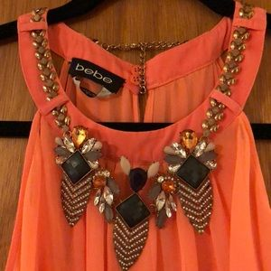 BEBE High Low Coral Dress with Removable Necklace
